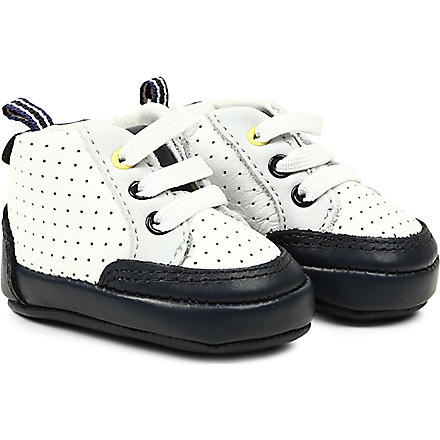 BOSS Pull-on leather trainers 6 months-4 years (White