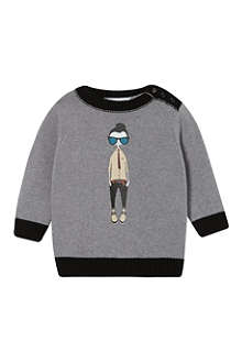 LITTLE MARC Illustrated knit jumper