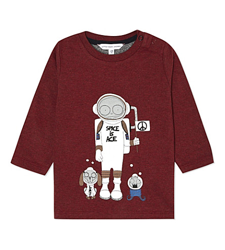 LITTLE MARC Illustrated space cotton t-shirt 3-18 months (Chine red