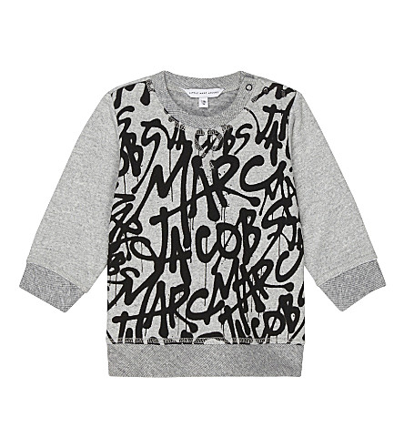 LITTLE MARC Graffiti print cotton-blend jumper 6-36 months (Grey