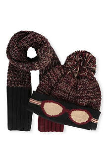 LITTLE MARC Glasses print hat & scarf set