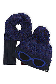 LITTLE MARC Glasses print hat and scarf set