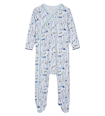 LITTLE MARC Alien and bunny cotton sleepsuit 3-12 months (Blue