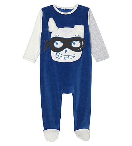 LITTLE MARC Masked bunny cotton-blend baby-grow 3-12 months (Blue