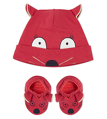 LITTLE MARC Mouse hat and slipper set 1-6 months (Rasberry