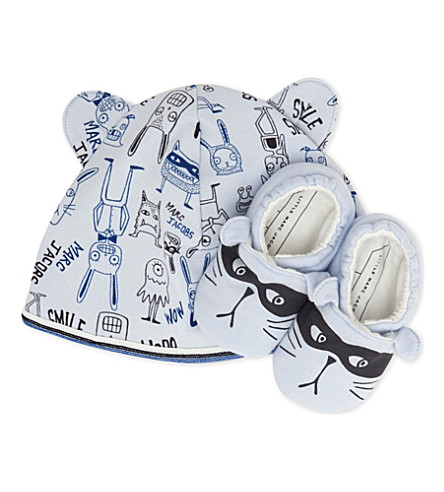 LITTLE MARC Bunny cotton hat & booties set 3-6 months (Blue