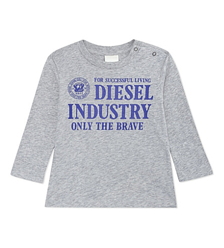 DIESEL Only The Brave long-sleeved cotton top 3-36 months (Grey