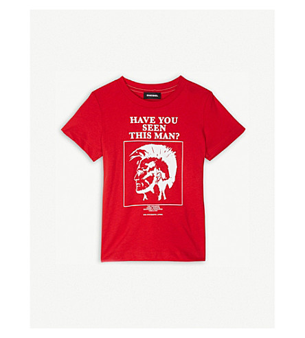 DIESEL 'HAVE YOU SEEN THIS MAN?' print cotton T-shirt 6-36 months (Red