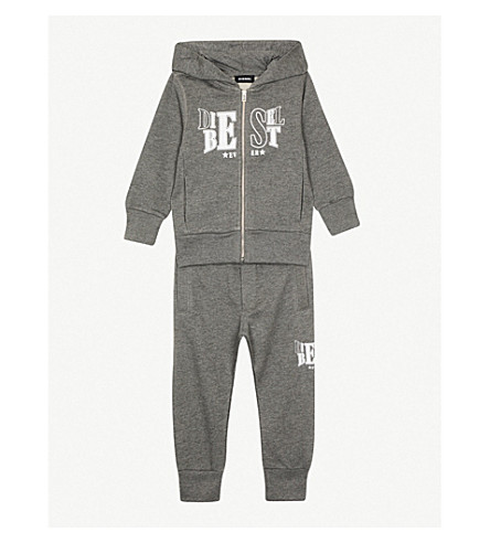 DIESEL Logo print cotton hooded tracksuit (Grey
