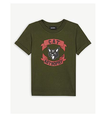 DIESEL Cat-astrophy logo cotton T-shirt 6-36 months (Green