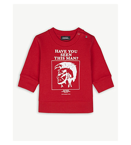 DIESEL Have you seen this man? cotton jumper 6-24 months (Red