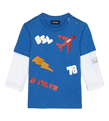 DIESEL Logo cotton long-sleeved top 6-24 months (Blue