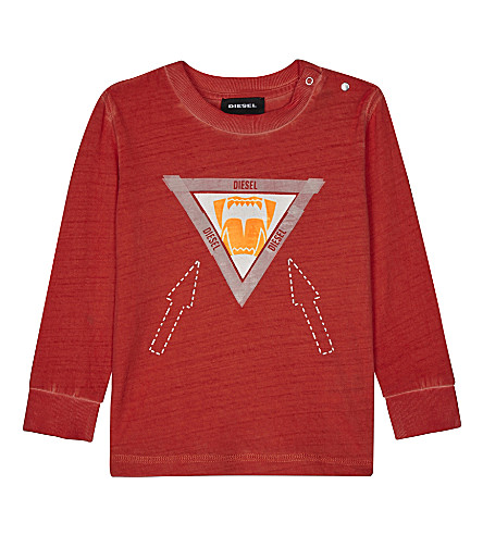 DIESEL Arrow print long-sleeve top 6-24 months (Red