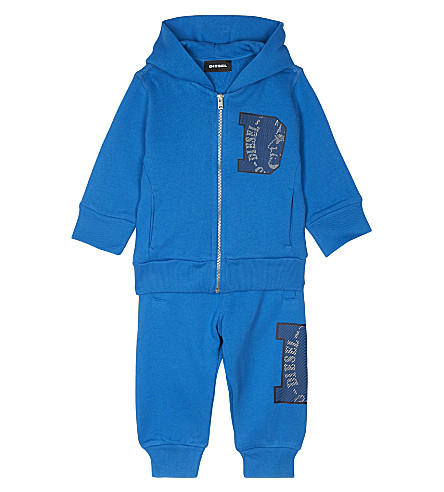 DIESEL Logo print hooded cotton tracksuit 6-24 months (Blue