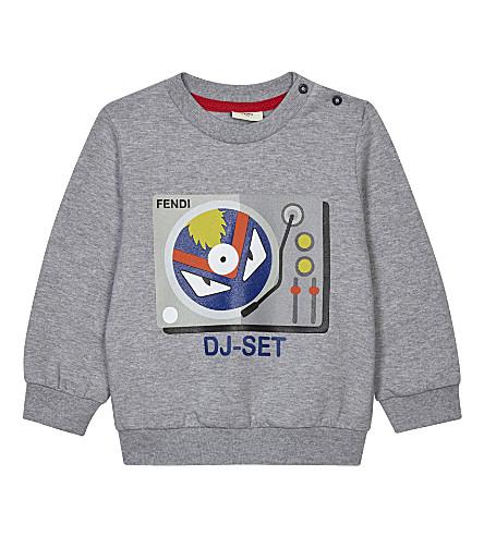 FENDI Record player bug print cotton jumper 6-24 months (Grey
