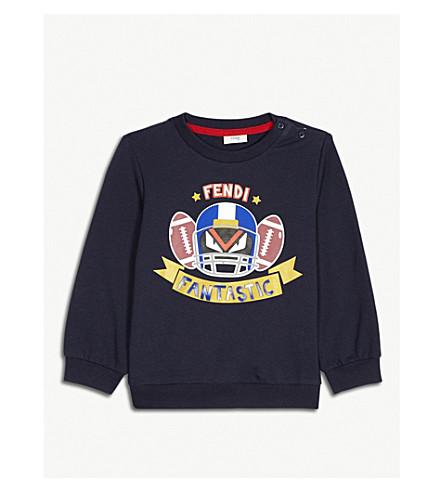 FENDI Monster print cotton-blend sweatshirt 6-24 months (Navy