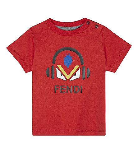 FENDI Monster headphone print cotton T-shirt 6-24 months (Red