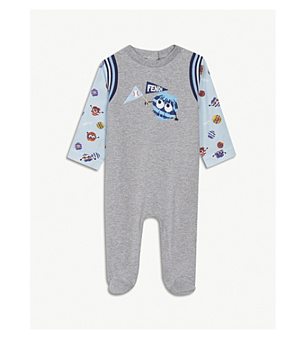 FENDI Roomie monster stretch-cotton sleepsuit 3-6 months (Grey