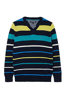 TOMMY HILFIGER Louise stripe v-neck jumper 3-18 months