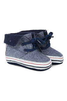 TOMMY HILFIGER Chambray trainer booties 0-12 months