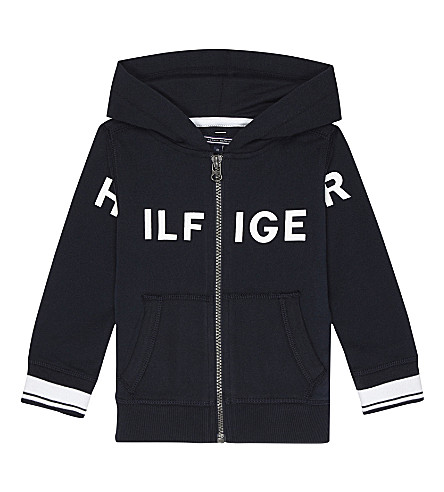 TOMMY HILFIGER Logo print cotton-blend hoody 3-36 months (Navy