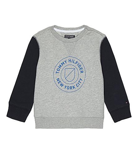 TOMMY HILFIGER Logo print jumper 6-36 months (Grey/navy