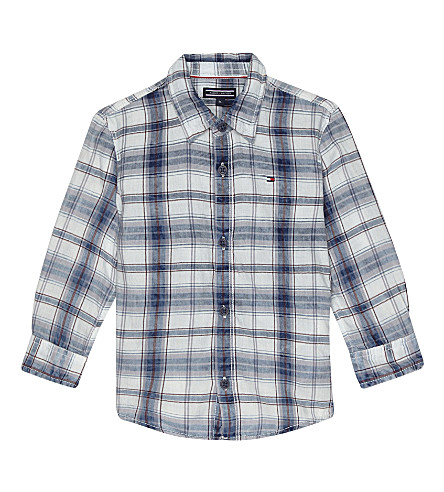 TOMMY HILFIGER Checked cotton shirt 6-36 months (Blue+indigo+heather