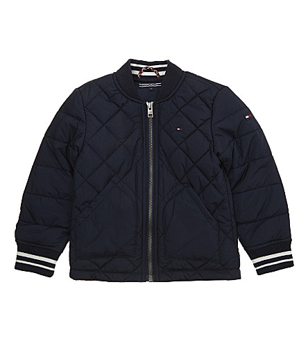TOMMY HILFIGER Logo tab quilted jacket hoody 3-36 months (Navy