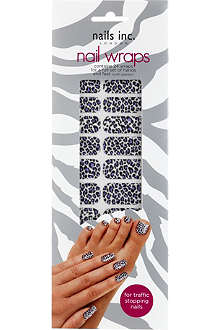 NAILS INC Leopard print purple white nail wraps
