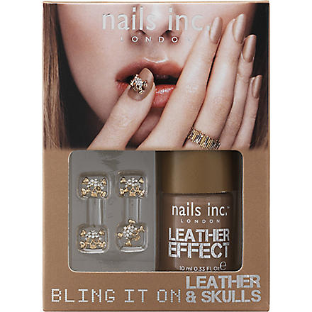 NAILS INC Bling It On Leather & Skulls nail polish - tan (Tan