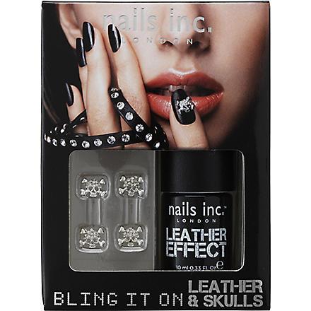 NAILS INC Bling It On Leather & Skulls nail polish - black (Black