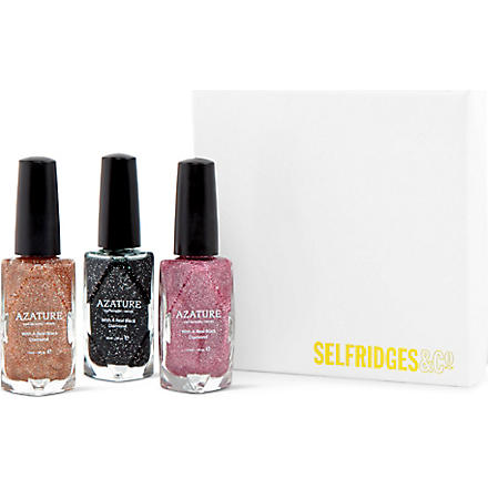 AZATURE Diamond nail polish gift box set (Black/pink/champagne