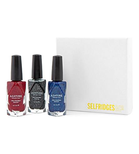 AZATURE Diamond nail polish gift box set (Black/red/blue