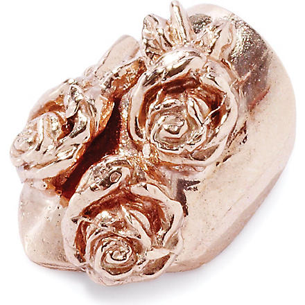 H&H Rose gold rose-detailed metal nail