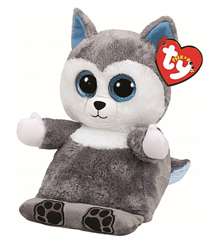 TY Peek-a-Boo Scout Husky phone holder