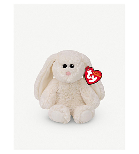 ATTIC TREASURES Ty Pearl the White rabbit plush beanie baby 15cm