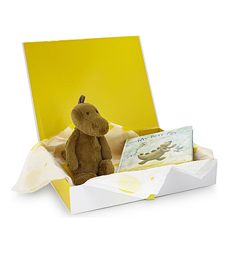 JELLYCAT Bashful Dino and book hamper