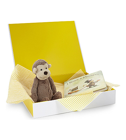 JELLYCAT Bashful Monkey and book hamper