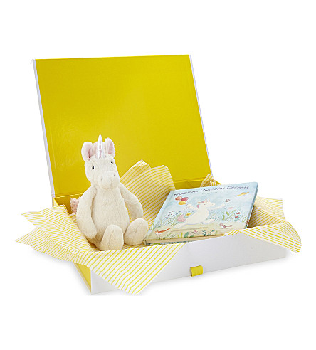 JELLYCAT Bashful Unicorn and book hamper