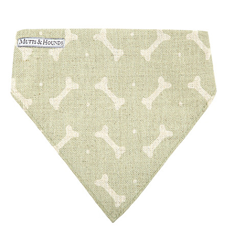 MUTTS & HOUNDS Bone-print linen neckerchief