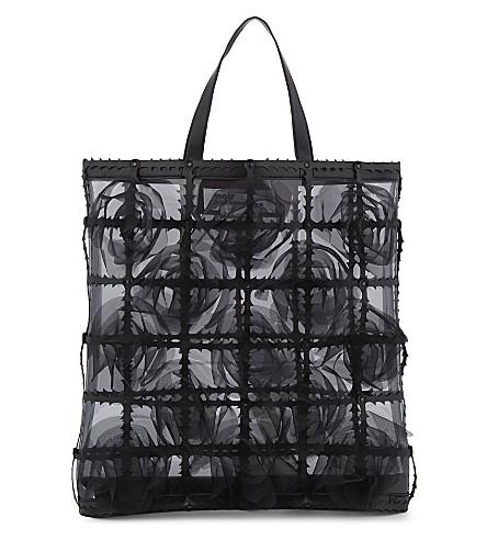 COMME NOIR KEI NINOMIYA Floral cage tote bag (Black