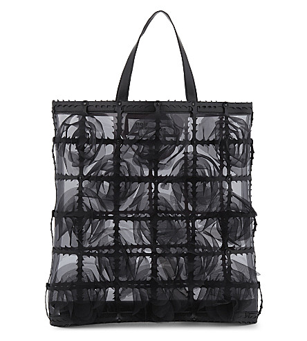 COMME DES GARCONS Floral cage tote bag (Black