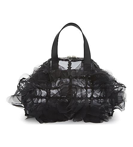 COMME NOIR KEI NINOMIYA Floral cage bowling bag (Black