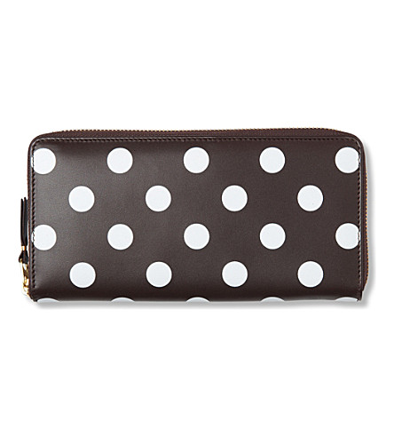 COMME DES GARCONS Polka-dot leather wallet (Brown