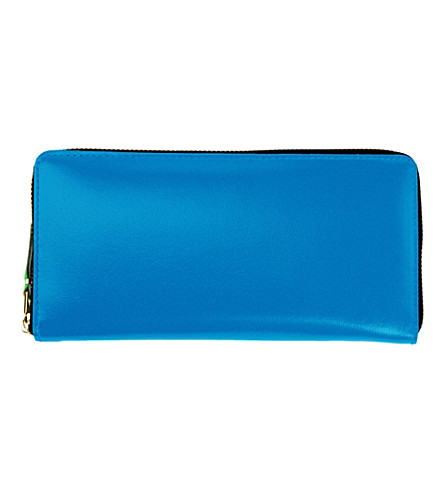 COMME DES GARCONS Fluoro leather wallet (Blue