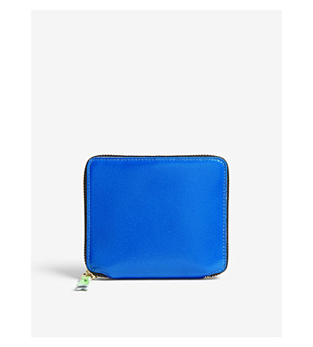 COMME DES GARCONS Fluoro medium leather wallet (Blue