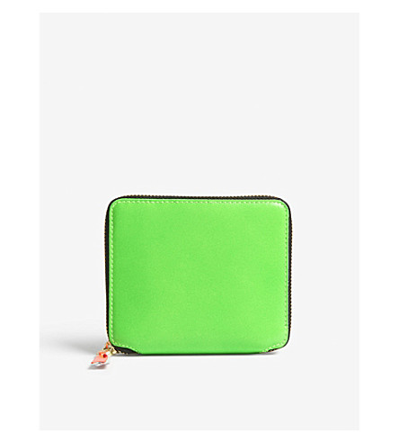 COMME DES GARCONS Fluoro medium leather wallet (Green