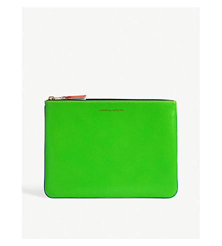 COMME DES GARCONS Fluo leather pouch (Blue+green