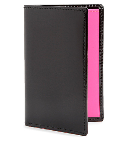 COMME DES GARCONS Fluoro leather card holder (Black