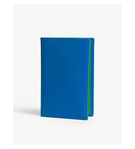 COMME DES GARCONS Fluoro leather card holder (Blue